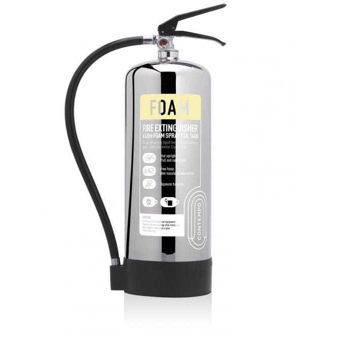 CheckFire - Contempo 6 Litre Foam Extinguisher - Stainless Steel
