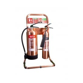 Double Tubular Fire Extinguisher Stand - Antique Copper
