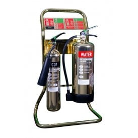 Double Tubular Fire Extinguisher Stand - Polished Gold