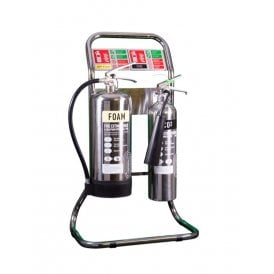 Double Tubular Fire Extinguisher Stand - Stainless Steel
