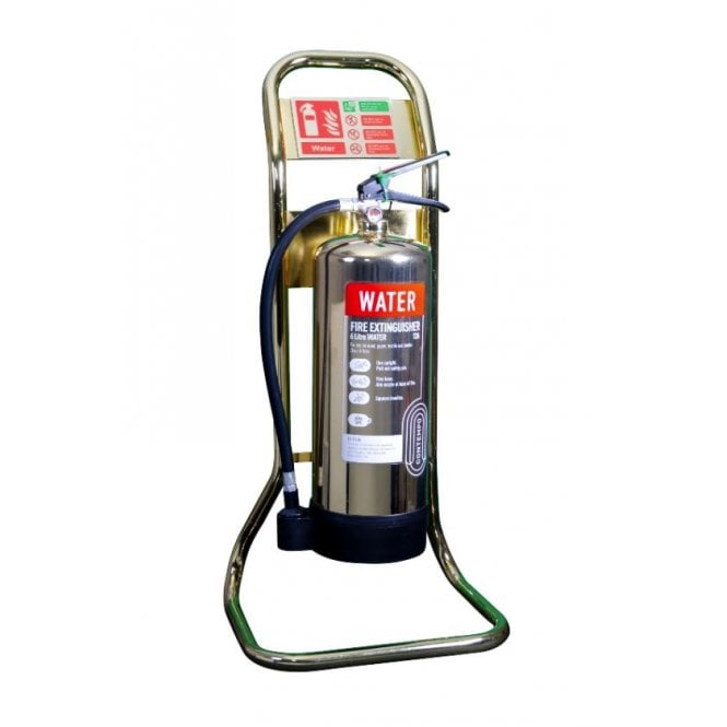 CheckFire Single Tubular Fire Extinguisher Stand - Polished Gold